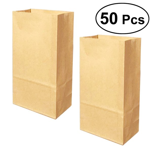 50pcs Kraft Paper Bags Favors Candies Treat Bags Take Away Food Containers for Cafe Restaurant Snack Bar Bakery Home