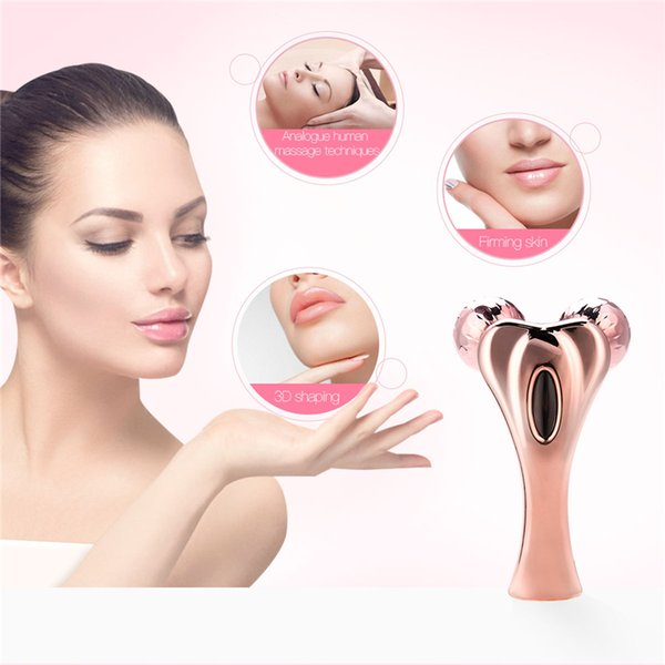 3D Twin Ball Roller Massager Y Shaped Face Lifting Massager Microcurrent Face Massage Roller Solar Chin Body Slimming Tool 0