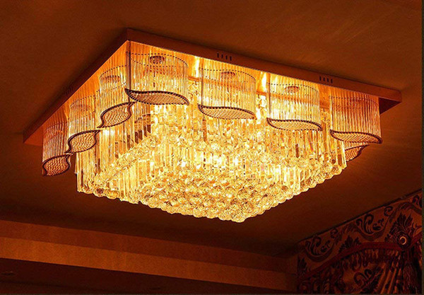 Room LED 3 Brightness K9 Crystal and Golden Mirror Stainless Steel Chandelier Ceiling Lamps Hanging Light With LED Bulb and Remote
