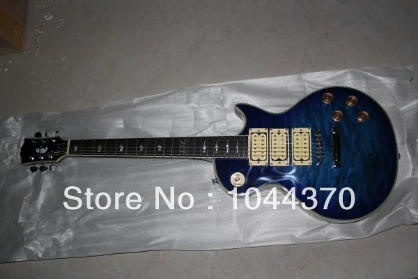 Wholesale Deep Blue flame maple storm 3 Pickups Electric Guitar with Ace Signature Electric Guitar free shippin2018g