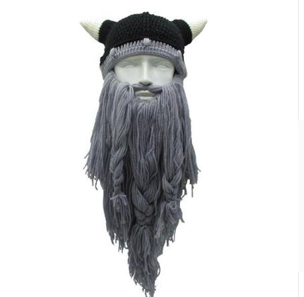Chapeau de chapeau de corne de bonnet de Viking d'adulte la nouvelle mode drôle à la main longue barbe de laine de viking barbu de cornes de pirate Halloween chapeau