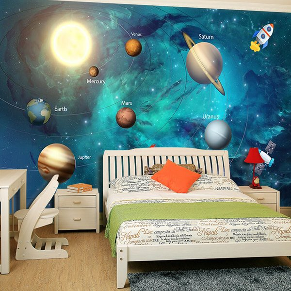 3d Wallpaper Space Universe Children Room Starry Sky Planet Wallpaper 3d Stereo Cartoon Mural Papel De Parede Infantil 3d Fresco Free Computer