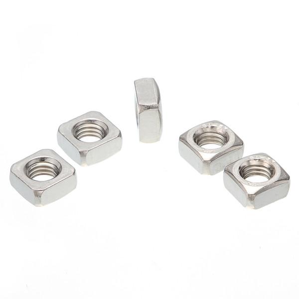 Lotti all'ingrosso di 100 pezzi M4 / M5 / M6 / M8 / M10 / M12 acciaio inox A2 304 dadi quadrati per viti bullone DIN557