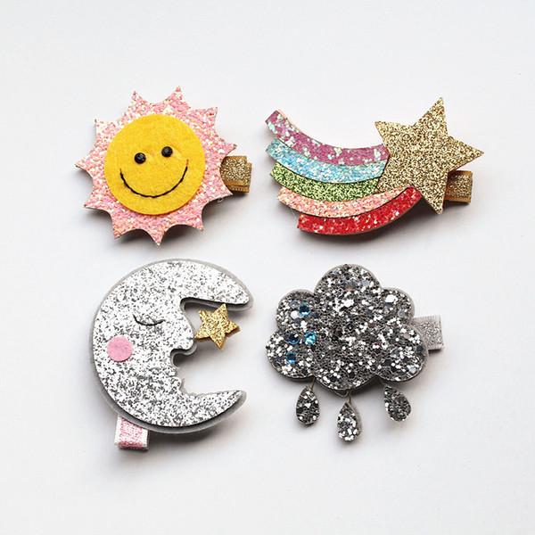 New Rainbow Hairpin 20pc Cloud Hair Clip Glitter Felt Moon With Mini Stars Silver Could Hair Grip Stripe Gold Sun Shape Hairpins Headwear