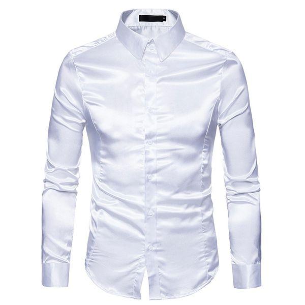 Mens Camisa De Seda Branca 2018 Moda Cetim De Seda Dos Homens Camisa Social Casual Slim Fit Camisas de Vestido de Manga Longa Masculina Camisa Masculina