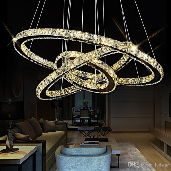 3 Rings Crystal LED Chandelier Pendant Light Fixture Crystal Light Lustre Hanging Suspension Light for Dining Room Foyer Stairs