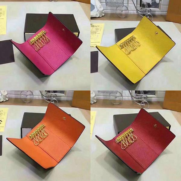 Commercio all'ingrosso di buona qualità scatola in pelle multicolore breve portafoglio sei portachiavi donna classico cerniera tasca portachiavi trasporto libero 62630