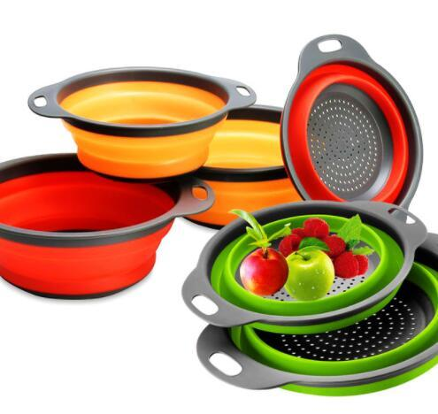 2 unids 1 Unidades Plegable Fruta Vegetal Colador de Cocina Colador Colador Canasta Colador de Cocina Cesta Herramienta de Lavado KKA5207