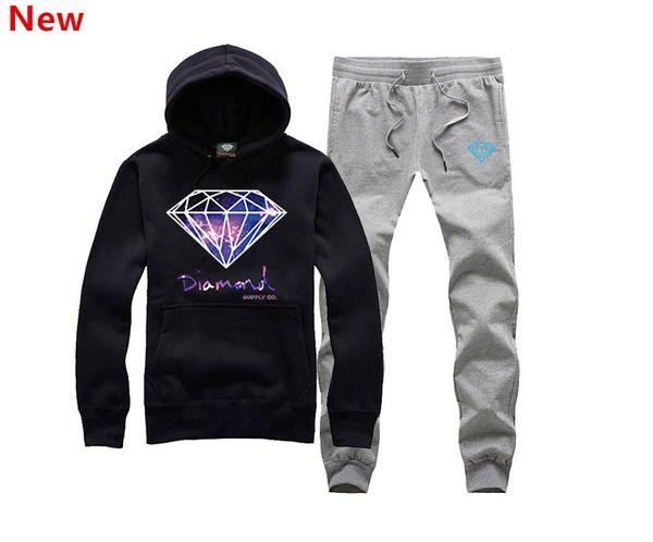 New Diamond Supply sweat suit Autumn sportswear sport men clothes track suits tracksuits male sweatshirts +Pants Plus Size 3XL H08