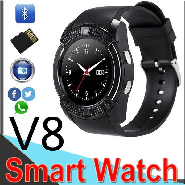 V8 смарт часы Bluetooth Андроид часы с Камера 0.3 M MTK6261D DZ09 GT08 SmartWatch для Apple, телефон Android с розничной упаковке XCTV8