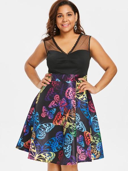 Wipalo Plus Size 5XL Lace Panel Sleeveless Butterflies Dress Elegant High Waist Knee-Length A Line Spring Autumn Dress Vestidos
