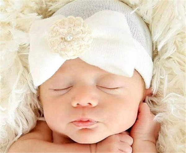 Baby Infant Bow Flower Hat Newborn Baby Pearl Beanie Crochet Caps Baby Girls Boys Winter Warm Cotton Stripe Headwear Hair Accessories