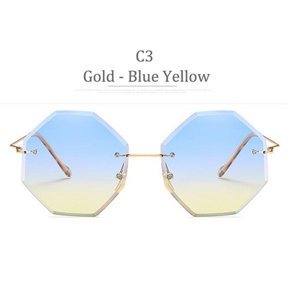 Lente blu gialla con montatura in oro C3