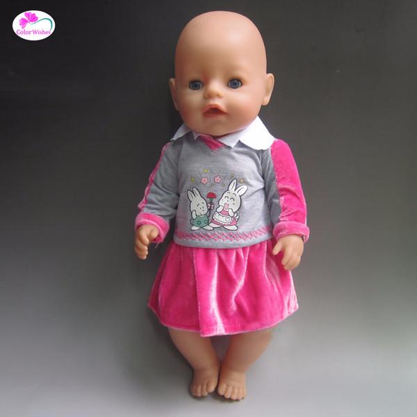Ajuste 43 cm Zapf Baby Born Doll Ropa Vestido casual Ropa Regalo de Navidad Accesorios para muñecas (No hay muñecas)