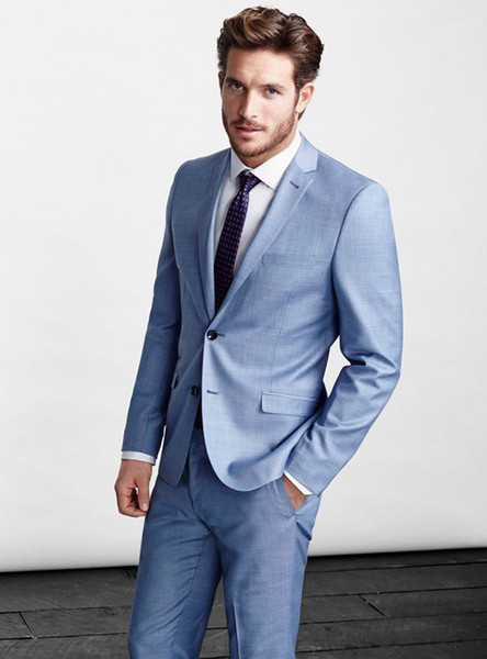 Spring Light Blue Men Suits Blazer Jacket Men Custom Made Smart Business Wedding Suits Tailor Tuxedo Terno Masculino 2 Pieces (Jacket+Pants)