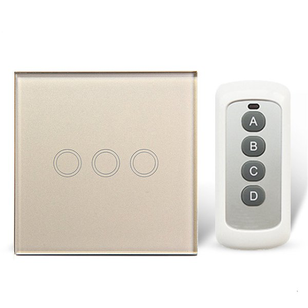 Remote Control Touch Switches Panel Light Wall waterproof crystal glass 3Gang 1 Way 433MHz With Pilot.EU/UK standard