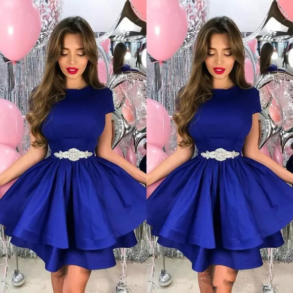 Royal Blue Homecoming Dress with Beads Belt Sexy A-Line Jewel Neck Short Prom Dresses Tiered Sleeves Party Gowns Satin Short Cocktail Dress