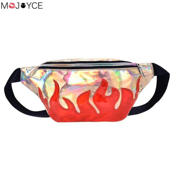 Moda Kadınlar Lazer Yansıtıcı Göğüs Kemer Bel Paketleri Kullanışlı Kullanışlı PU Deri Fanny Telefonu Çanta Kadınlar için 2018