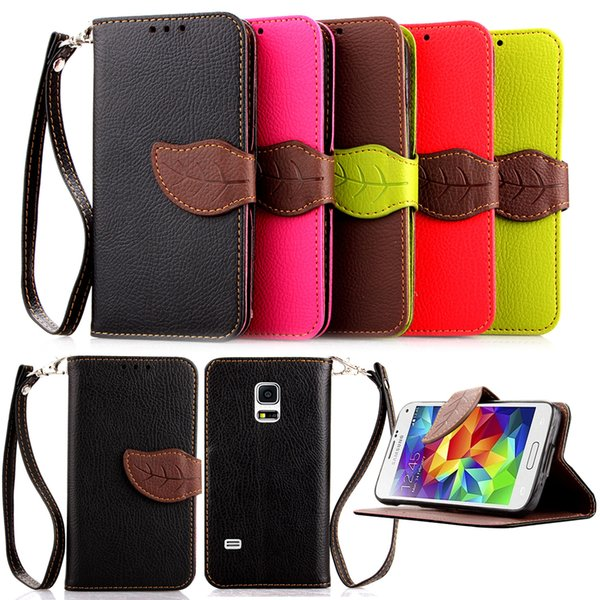 For Galaxy S5 Mini/G800/G870a/G870W/SM-G Case PU Leather Stand Leaf Flip Wallet Card Money Holder Strong Removable Hand Strap