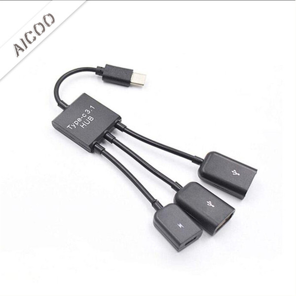Portable 3 in 1 Multiple USB Charging Cable Cord Adapter Type C Micro Cable Connector Ports With OTG Function and Keyboard Mouse OPP