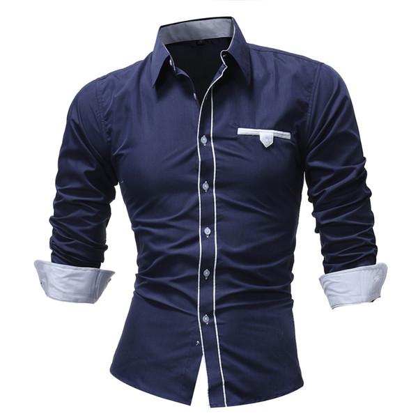 2018 nuevos hombres francés botón negocios camisas de vestir bolsillo del pecho masculinos mangas cortas color sólido para hombre slmi camisas aptas
