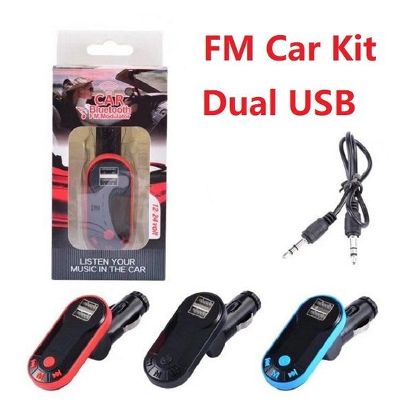 FM Transmitter Double Dual USB Charger Bluetooth Car Kit FM Radio Car Bluetooth Adapter Support TF Card USB Flash Drive AUX Better G7