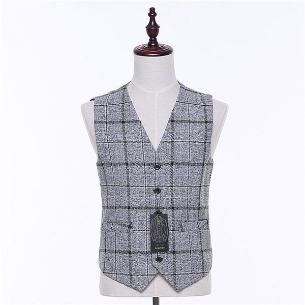 Colete Inverno Plaid Gilet Uomo Moda Britannico Slim Fit Uomo Abito Vestito Gilet monopetto Casual Gilet Partito Gilet XS-4XL