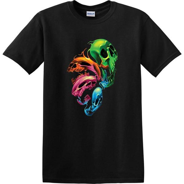 cupón doble color rápido varios tipos de Compre Diseños Personalizados Camisas De Manga Corta Con Estampado De Neón  Color Cráneo Camiseta De Fusión De Cráneos Distorsionados Para Hombres O ...
