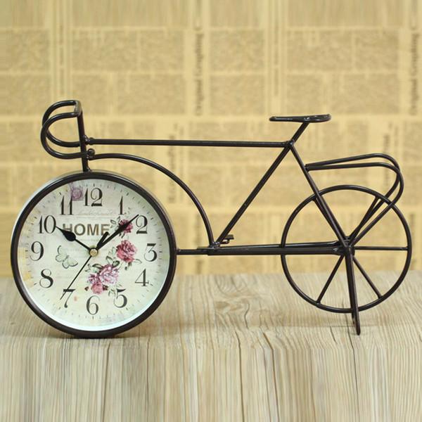 European pastoral bicycle iron art mute table clock original clock antique imitation crafts desk home decoration