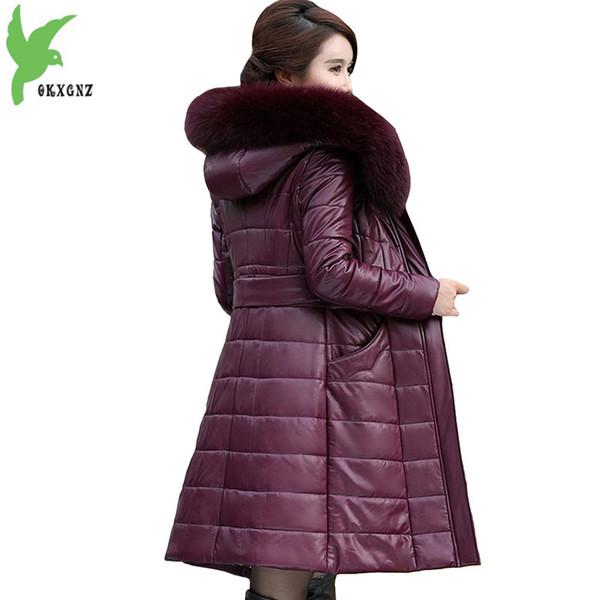 top popular Plus size L-8XL winter parkas for women 2018 Genuine Leather coat Down cotton jacket female Thicken warm tops Large size coats 2020