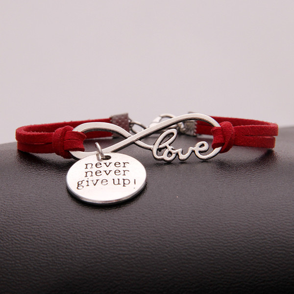2019 Fashion Hot Red Punk Infinity Love Never Never Give Up Jewelry Handmade Charm Leather Suede Wrap Metal Bracelet & Bangles For Women Men