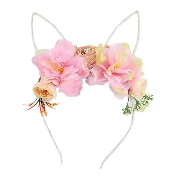 Children hair sticks hand made girls stereo flowers princess hair accessories kids cute cat ear cosplay party designer headbands YA0420