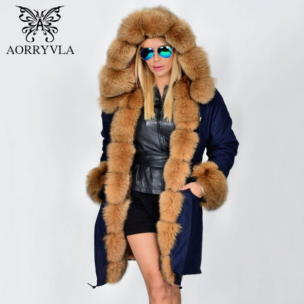 AORRYVLA Fur Parka For Women Winter 2017 Luxurious Real Fox Fur Collar Hooded Long Coat Thick Warm Detachable Lining Lady Parka