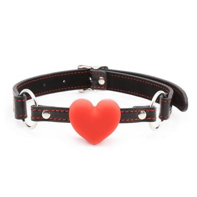 Free shipping!Heart Gag Rubber& PU Leather Open Mouth Gag Harness Ball Heart Shape Couple Game Flirting Oral Sex toys For Woman Man