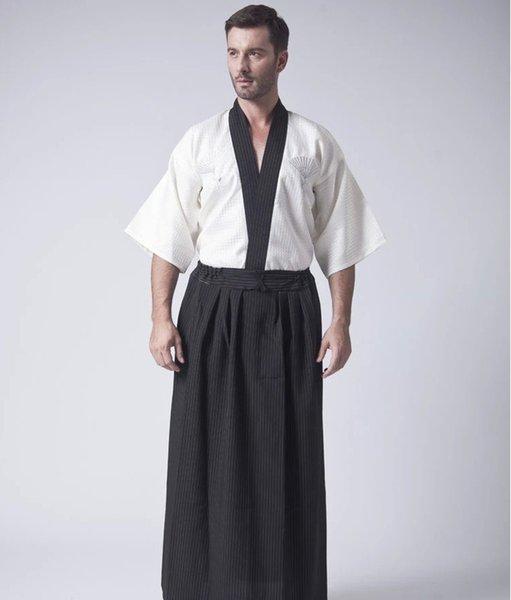 best selling Classic Japanese Samurai Clothing Men's Warrior Kimono With Obi Traditional Satin Yukata Convention Costume One Size