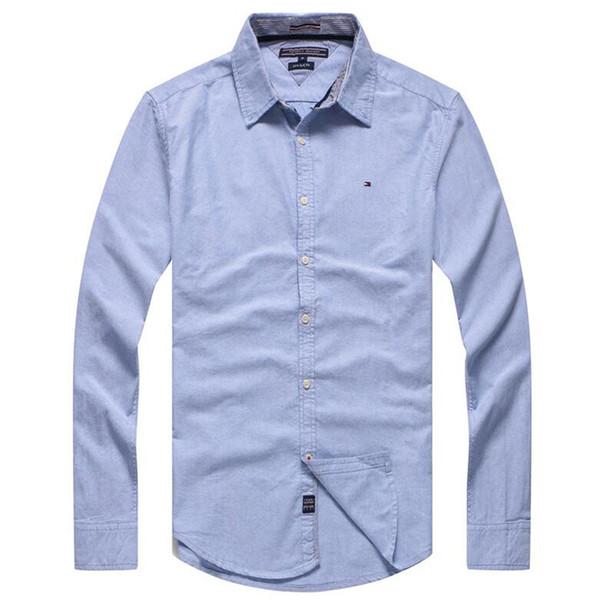 Hommes Chemises de marque Marque Vêtements Mode Casual Hommes Chemise Slim Fit Manches longues Solid Black White Chemises