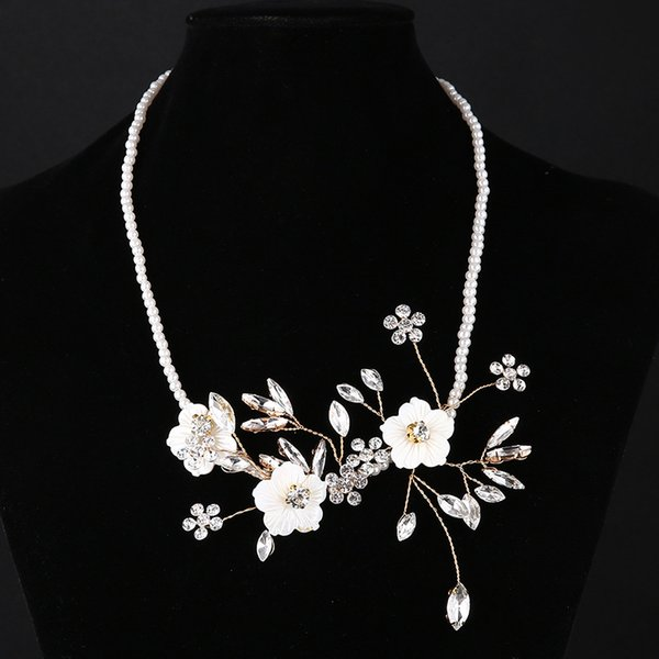 2019 Luxury Crystal Pearl Wedding Bride Necklace Beautiful Ivory