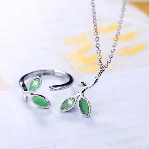 Neue kleine frische grüne Blätter Schmuck Sets enthalten Silber 925 Ring / Halskette indischen Schmuck Set Sterling Bijoux Modeschmuck für Frauen P282