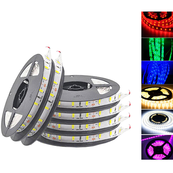 top popular High brightness led strip SMD 5050 2835 5630 DC12v flexible led strips lights waterproof 60LED meter 300LED 5meter roll IP65 strips lights 2019