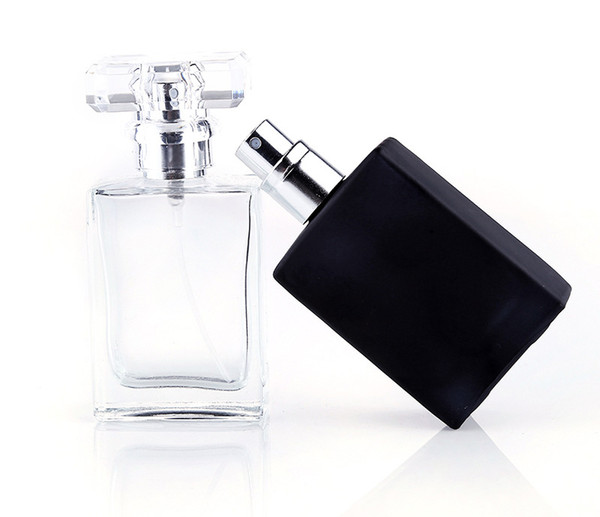 top popular Hot Sale 30ml Clear Black Portable Glass Perfume Spray Bottles Empty Cosmetic Containers With Atomizer For Traveler 2019