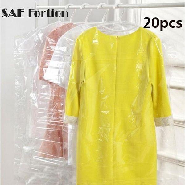 20pcs/Lot Plastic Transparent Dust Cover Garment of Clothes Hanging Pocket Storage Bag Wardrobe Hanging Clothing 60x90cm