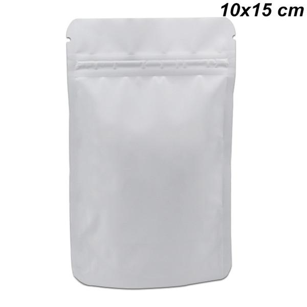 Blanc 10x15cm 100 Pcs Lot Stands Rescellable Feuille Mylar Zip Lock Sacs De Conditionnement De Qualité Alimentaire Doypack Pure Feuille De Aluminium De Stockage Sacs D'emballage