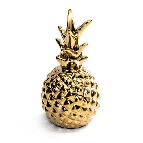 Golden Ceramics Pineapple Ornaments Figurines Ceramic Fruit Model Miniatures Decoration Crafts Christmas Home Office Decor Gifts