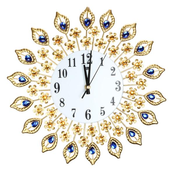Luxury Peacock Diamond Large Wall Clocks Acrylic Crystal + Glass + Metal Wall Sticker DIY Brief Clock for Living Room Decor