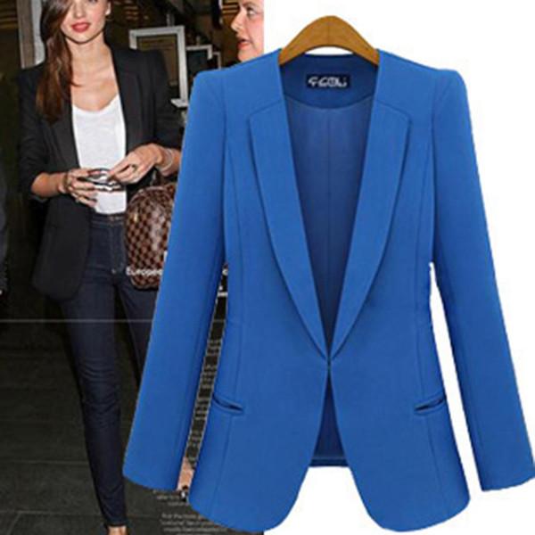 2018 Frauen-Blazer-Arbeits-Büro-Dame OutWear formale Blazer-weibliche dünne weibliche Herbst-Schwarz-blaue lange Jacke V-Ansatz Frauen-Mantel