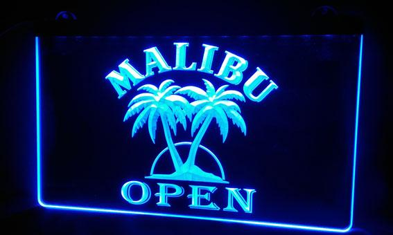 LS479-bMalibu Beer OPEN Bar 3D LED Neon Light Sign Customize on Demand 8 colors to choose