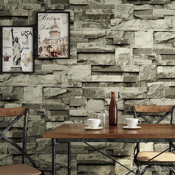 3D Tuğla Şerit Duvar Kağıdı Restoran Bar Bağbozumu Arka Plan Duvar Sticker Dokunmamış Kumaş Oturma Alanı Süslemeleri Çevre Dostu 38yc ii