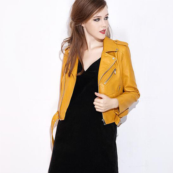 Wholesale- 2017 Autumn New Arrival Leather Jacket Women Perfecto Washed PU Faux Leather Lady Motorcycle Bikers Coats Jaqueta De Couro