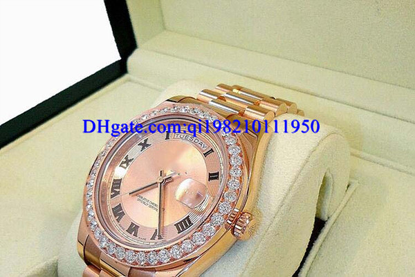 Presente de natal mens relógios Presidente Day-Date 41mm 218235 18 K Rose Gold Diamante Bisel Vestido Estilos BOX / PAPERS