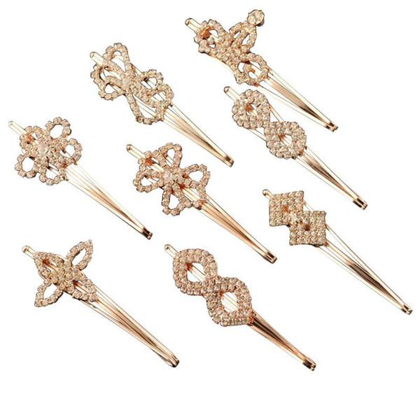 12PC Small Rhinestone Crystal Hairpins Crown Heart Flower Shape Clips Hair Snaps for Wedding Birthday Festival C18110801
